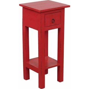 Cottage Side Table – Distressed Antique Red