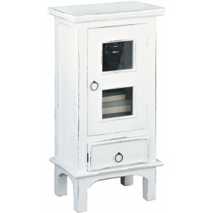 Cottage End Table / Nightstand – Distressed White