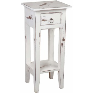 Cottage Side Table – Heavy Distressed Whitewash
