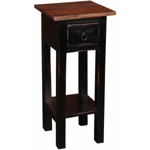 Cottage Side Table – Antique Black with Raftwood Top