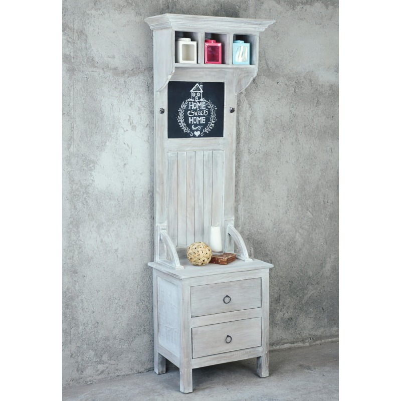 Shabby-Chic-Collection-Hall-tree-with-chalkboard-finished-in-a-Gray-wash-room-setting-CC-CAB251S-SW.