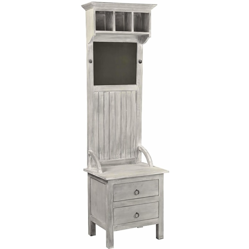 Shabby-Chic-Collection-Hall-tree-with-chalkboard-finished-in-a-Gray-wash-three-quarter-view-CC-CAB25