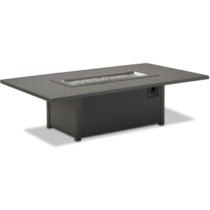 "48"" x 84"" Rectangular Aluminum Slat Chat Height Fire Table"