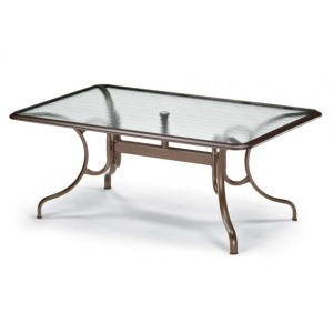 Glass Top Table, 42″ X 68″ Rectangular Dining Table W/ Hole Ogee Rim