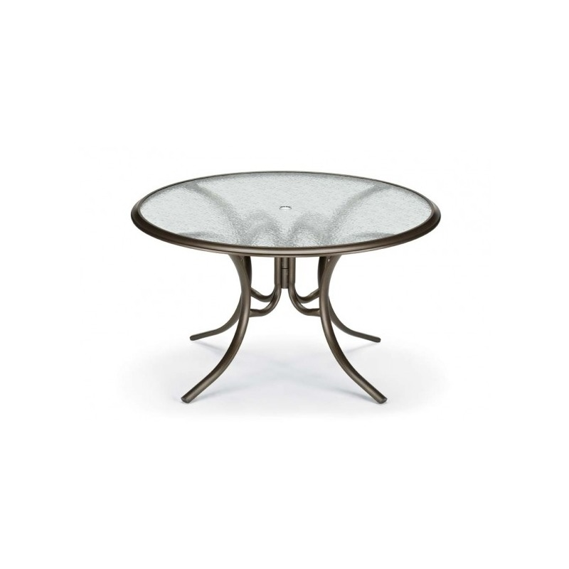 Glass Top Table, 56″ Round Dining Table W/ Hole Ogee Rim