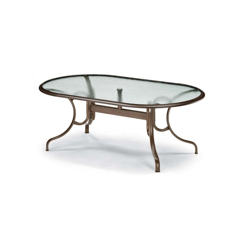Glass Top Table, 43″ X 75″ Oval Dining Table W/ Hole Ogee Rim