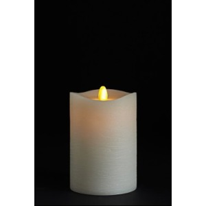 Matrix Pillar Candle, Ivory, Frosted Finish, Unscented, Timer, Remote Ready