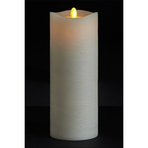 3.5 X 9 Matrix Pillar Candle, Ivory, Frosted Finish, Unscented, Timer, Remote Ready