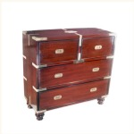 Delhi Teak and Rosewood Campaign Chest of Drawers