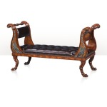 A mahogany and pollard burl chaise or window seat  Seating