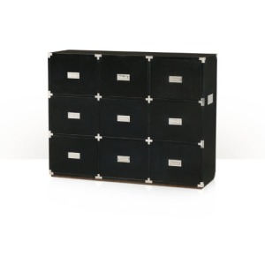 Large Ebony Campaign Chests of Drawers