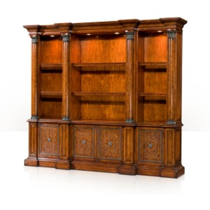 A pine and laurel burl open library bookcase  Cabinetry