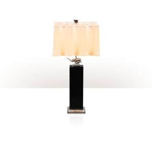 A black lacquer and nickel plated brass mounted table lamp
