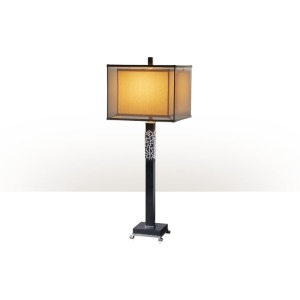 A black marble and nickel plated brass table lamp