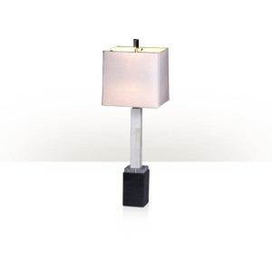 A bone and marble table lamp