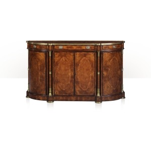 A bowfront cerejeira and oval burl panel inlaid buffet