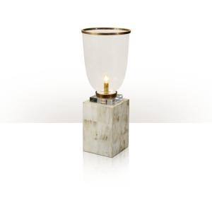 A buffalo horn inlaid hurricane table lamp