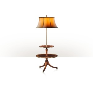 A burl veneer and brass inlaid floor lamp