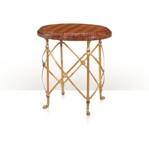 A cherry and rosewood parquetry lamp table