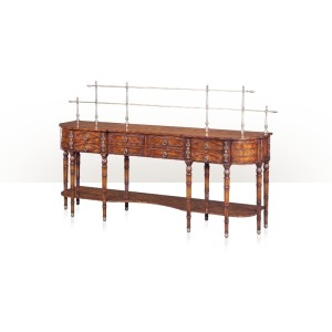 A flame mahogany sideboard with bowed sides