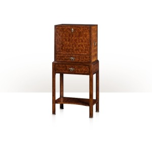 A mahogany and cerejeira lozenge parquetry bar cabinet