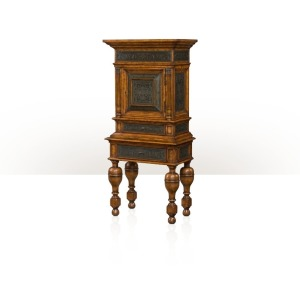 A mahogany and poplar burl cabinet on stand