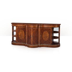 A rosewood and cerejeira veneered serpentine bar cabinet