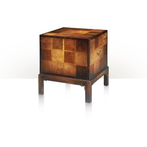 A specimen wood parquetry inlaid box on stand