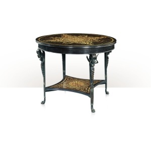 A verdigris brass and marquetry inlaid centre table