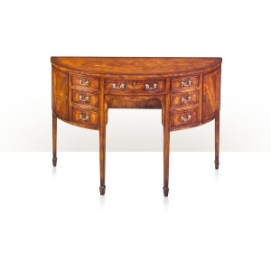 Althorp Living History A mahogany and ebony strung demi-lune sideboard