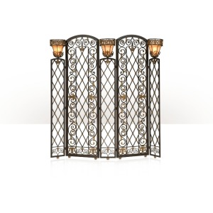 An unusual wrought iron and brass mounted screen lamp