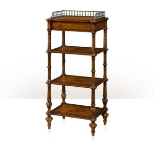 A leather panelled four tier etagere Cabinetry