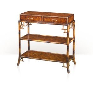 A bamboo and pollard burl console table