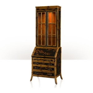 A Chinoiserie bamboo and black lacquer bureau bookcase Cabinetry