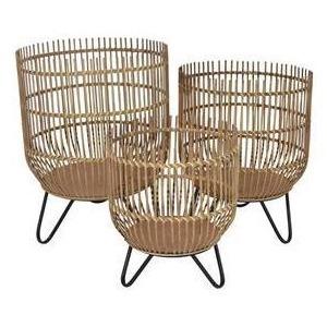 Wood/metal Basket Set Of 3