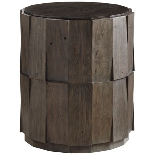 Everett Round Travertine End Table
