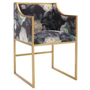 Atara Floral Velvet Gold Chair