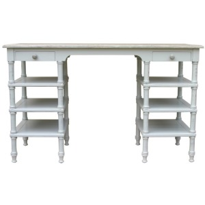 Island Desk Console -White/Riverwash