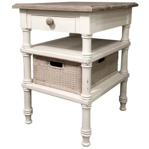 Island Side Table -White/Riverwash