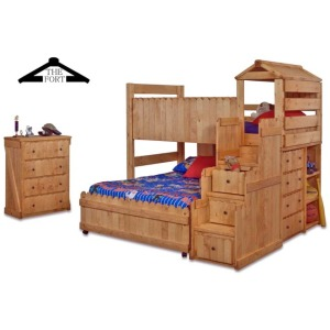 Full Caster Bed Frame, Ends, and Loft Stairway Chest