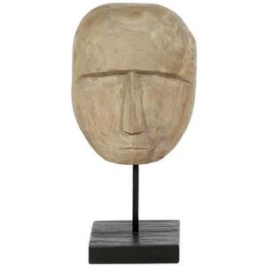 Curved Wood Teak Mask Sculpture