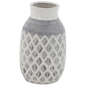 Grey & White Diamond Ceramic Vase