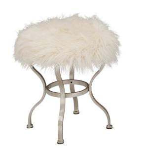 Fur Stool - White