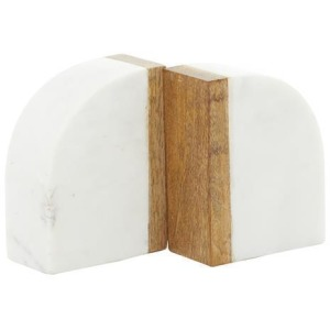 marble & Wood Bookends