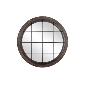 Wood Metal Round Wall Mirror