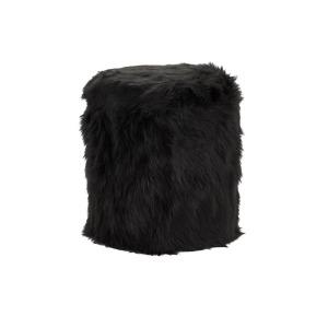 Faux Fur Storage Stool - Black