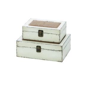 Wood Burlap Box - Set of 2