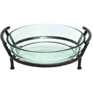 Glass Bowl w/Metal Stand