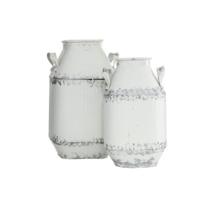 Metal White Milk Can, S/2