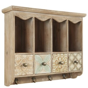 Wooden Wall Shelf w/Hooks